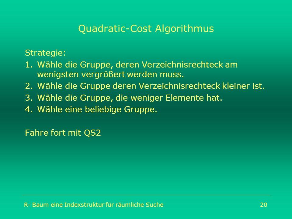 R- Baum eine Indexstruktur für räumliche Suche20 Quadratic-Cost Algorithmus Strategie: 1.Wähle die Gruppe, deren Verzeichnisrechteck am wenigsten verg