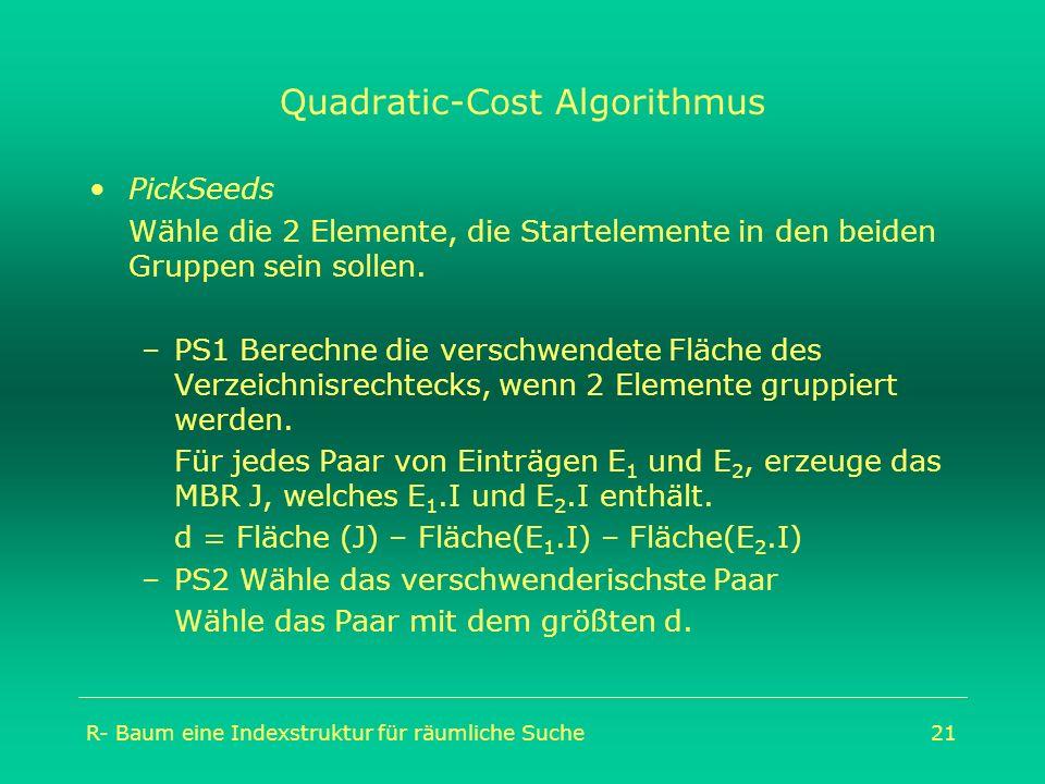 R- Baum eine Indexstruktur für räumliche Suche21 Quadratic-Cost Algorithmus PickSeeds Wähle die 2 Elemente, die Startelemente in den beiden Gruppen se