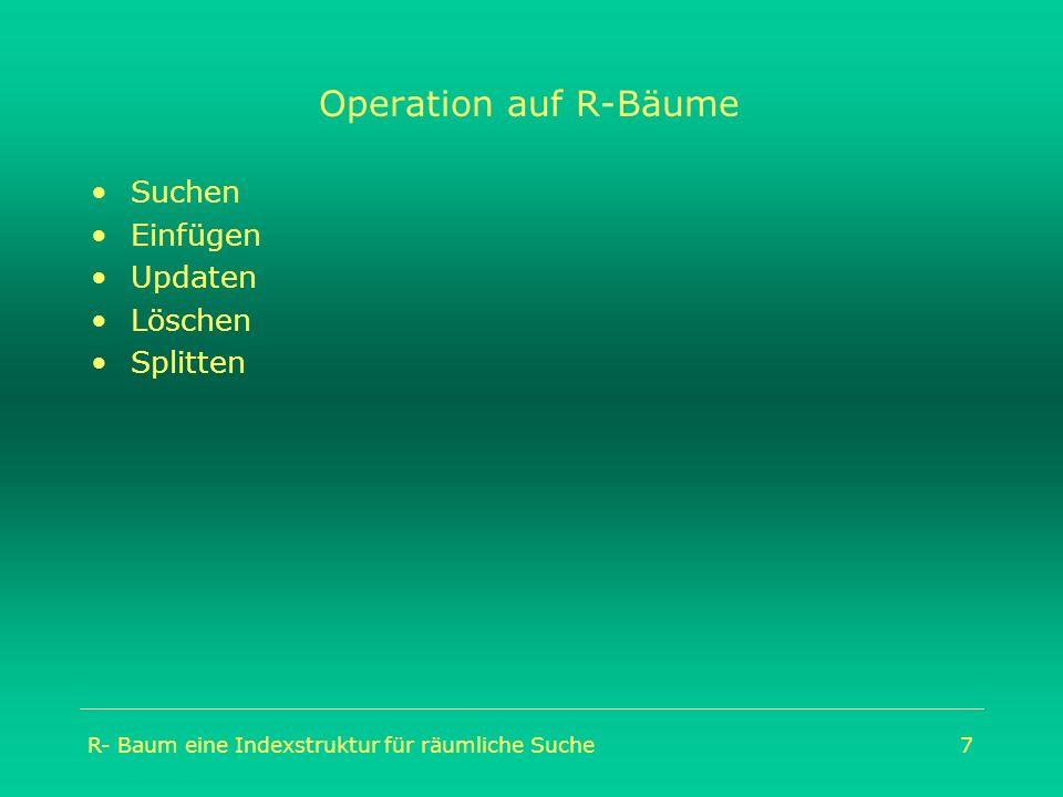 R- Baum eine Indexstruktur für räumliche Suche7 Operation auf R-Bäume Suchen Einfügen Updaten Löschen Splitten