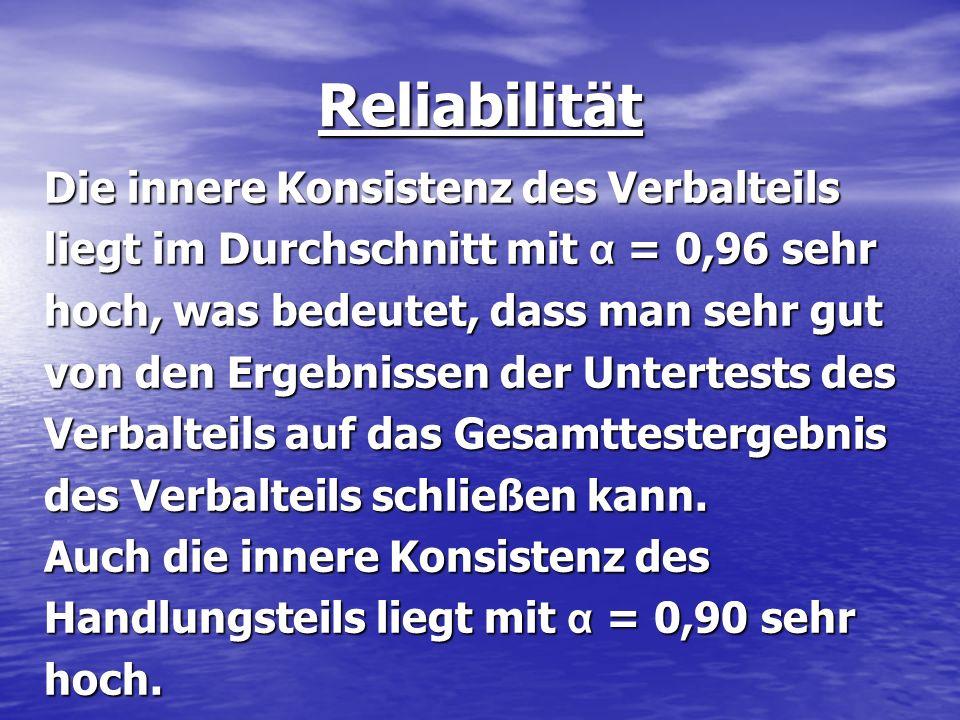 Reliabilität Die innere Konsistenz des Verbalteils liegt im Durchschnitt mit α = 0,96 sehr hoch, was bedeutet, dass man sehr gut von den Ergebnissen d