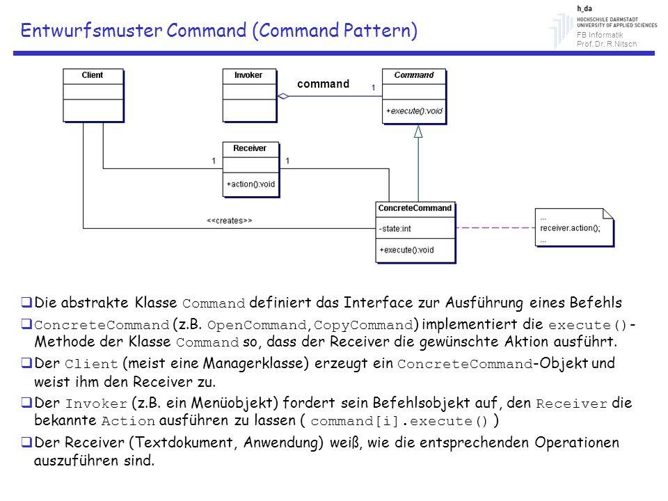 FB Informatik Prof. Dr. R.Nitsch Entwurfsmuster Command (Command Pattern) Die abstrakte Klasse Command definiert das Interface zur Ausführung eines Be