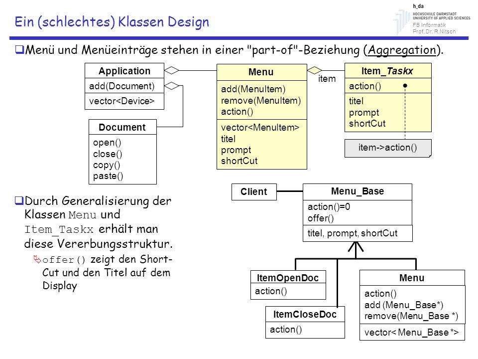 FB Informatik Prof. Dr. R.Nitsch Ein (schlechtes) Klassen Design Menü und Menüeinträge stehen in einer