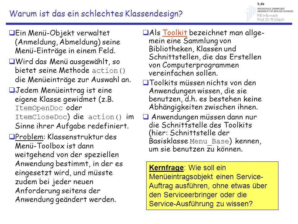 FB Informatik Prof. Dr. R.Nitsch Warum ist das ein schlechtes Klassendesign? Ein Menü-Objekt verwaltet (Anmeldung, Abmeldung) seine Menü-Einträge in e