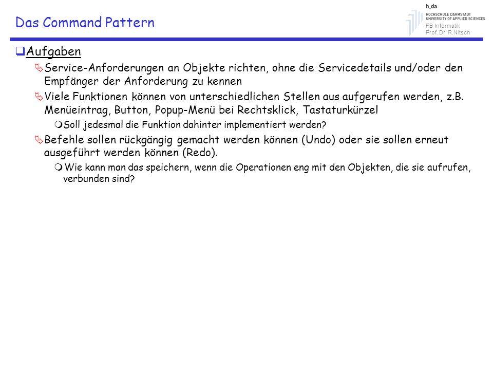 FB Informatik Prof. Dr. R.Nitsch Das Command Pattern Aufgaben Service-Anforderungen an Objekte richten, ohne die Servicedetails und/oder den Empfänger