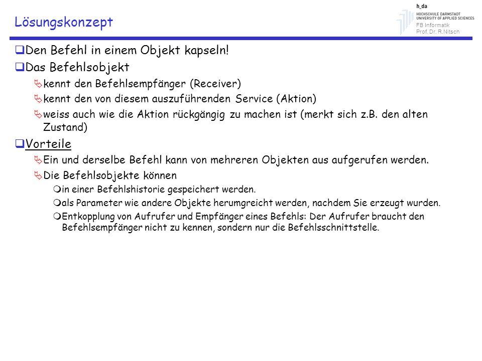 FB Informatik Prof. Dr. R.Nitsch Lösungskonzept Den Befehl in einem Objekt kapseln! Das Befehlsobjekt kennt den Befehlsempfänger (Receiver) kennt den