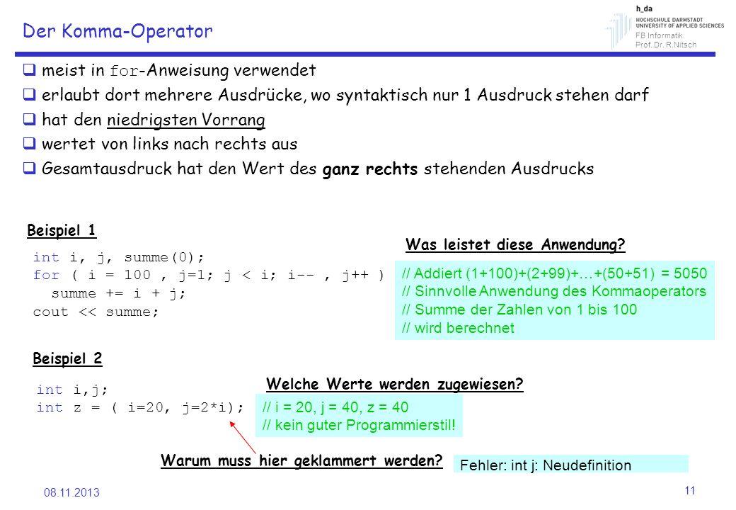 FB Informatik Prof. Dr. R.Nitsch 08.11.2013 11 Der Komma-Operator meist in for -Anweisung verwendet erlaubt dort mehrere Ausdrücke, wo syntaktisch nur