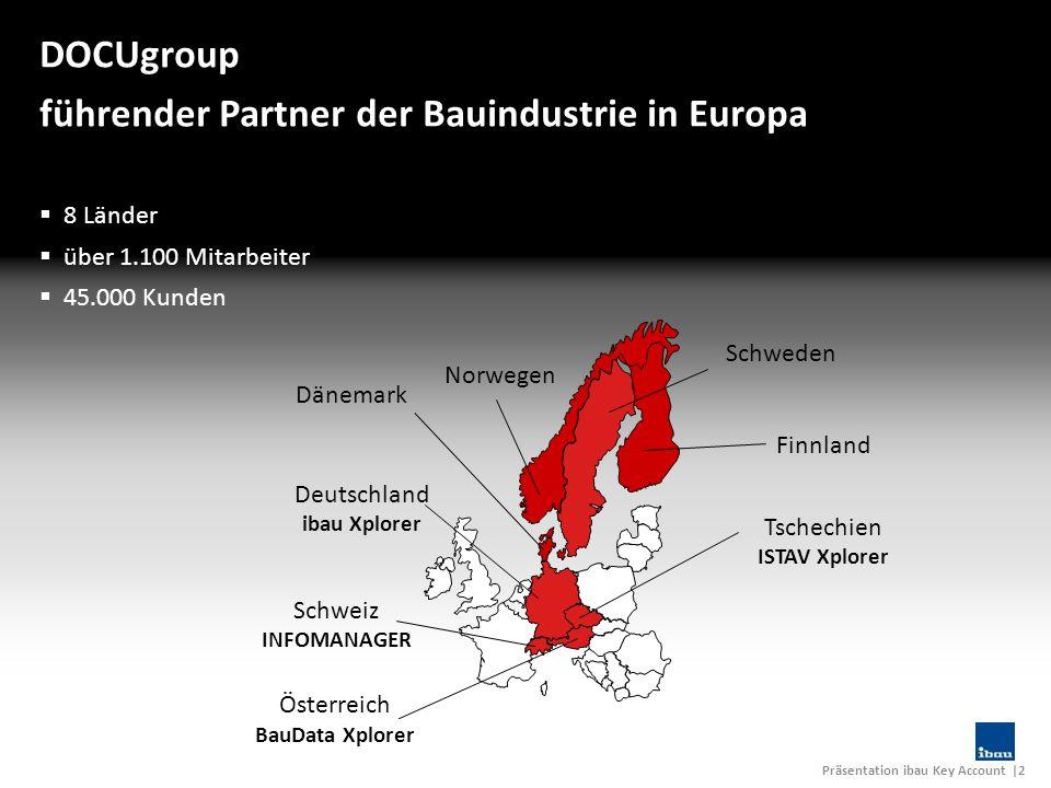Präsentation ibau Key Account |2 DOCUgroup führender Partner der Bauindustrie in Europa Deutschland ibau Xplorer Schweiz INFOMANAGER Tschechien ISTAV
