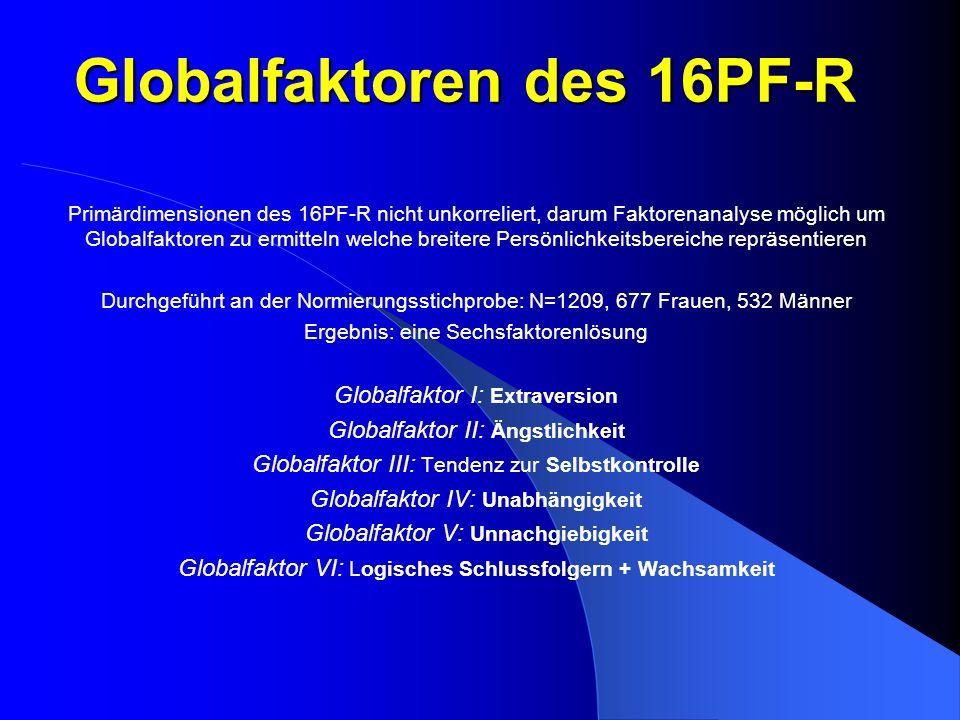 Globalfaktoren des 16PF-R Primärdimensionen des 16PF-R nicht unkorreliert, darum Faktorenanalyse möglich um Globalfaktoren zu ermitteln welche breiter