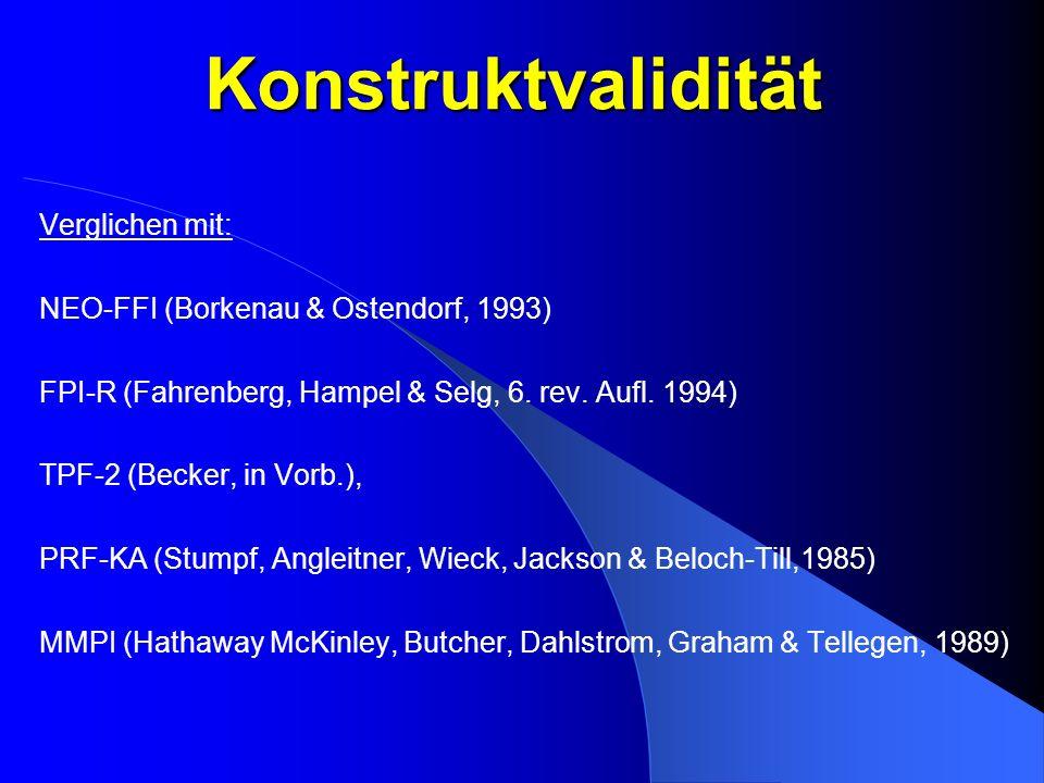 Konstruktvalidität Verglichen mit: NEO-FFI (Borkenau & Ostendorf, 1993) FPI-R (Fahrenberg, Hampel & Selg, 6. rev. Aufl. 1994) TPF-2 (Becker, in Vorb.)