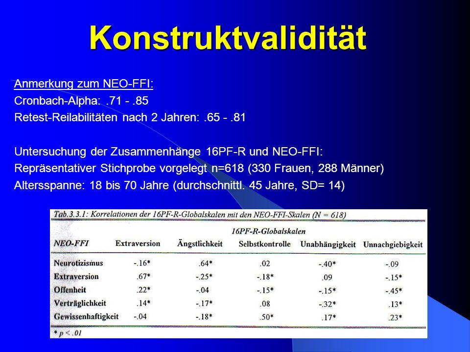Konstruktvalidität Anmerkung zum NEO-FFI: Cronbach-Alpha:.71 -.85 Retest-Reilabilitäten nach 2 Jahren:.65 -.81 Untersuchung der Zusammenhänge 16PF-R u
