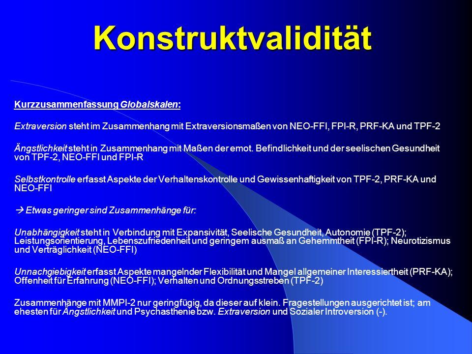 Konstruktvalidität Kurzzusammenfassung Globalskalen: Extraversion steht im Zusammenhang mit Extraversionsmaßen von NEO-FFI, FPI-R, PRF-KA und TPF-2 Än