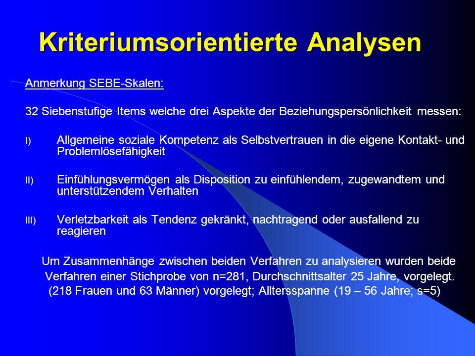 Kriteriumsorientierte Analysen Anmerkung SEBE-Skalen: 32 Siebenstufige Items welche drei Aspekte der Beziehungspersönlichkeit messen: I) Allgemeine so