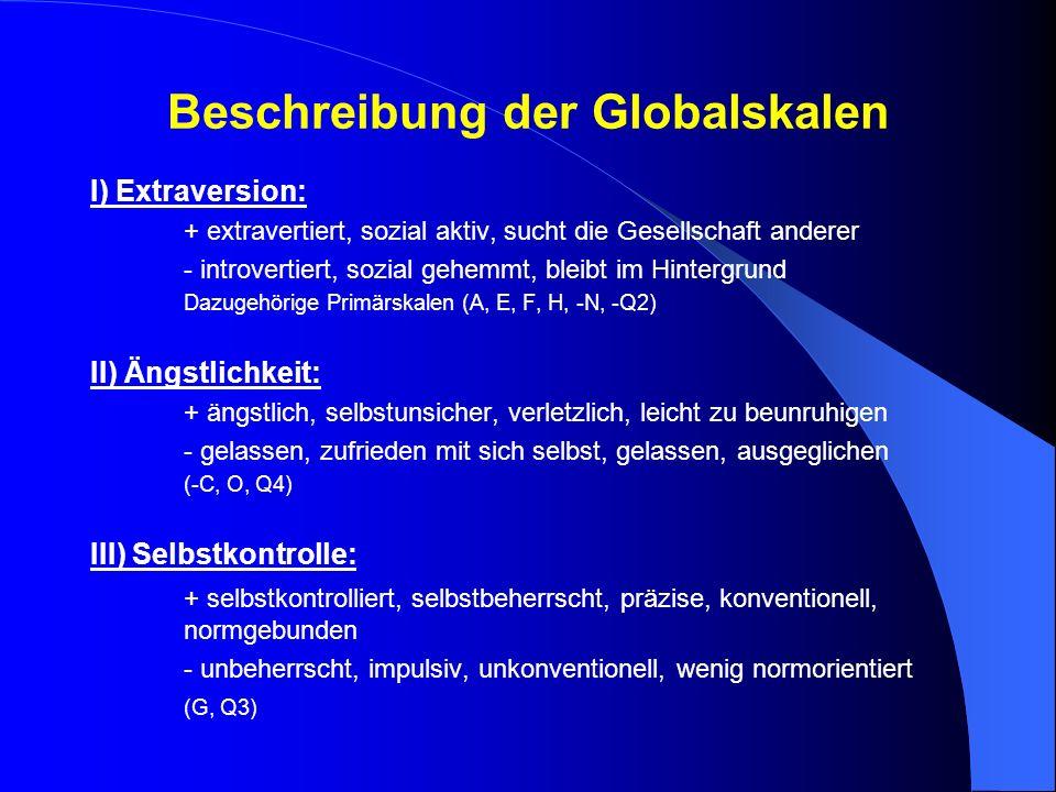 Beschreibung der Globalskalen I) Extraversion: + extravertiert, sozial aktiv, sucht die Gesellschaft anderer - introvertiert, sozial gehemmt, bleibt i