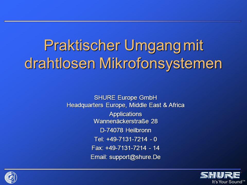 Funktionsblöcke Sender Mikrofonvorverstärker Mikrofonvorverstärker bei Shure Bestandteil der abnehmbaren Mikrofonkapsel bei Shure Bestandteil der abnehmbaren Mikrofonkapsel Pegel- und Impedanzanpassung Pegel- und Impedanzanpassung Gleichspannung für Kondensatorelemente Gleichspannung für Kondensatorelemente Pre-emphasis (Vorverzerrung / Höhenanhebung) für Rauschunterdrückungssystem Pre-emphasis (Vorverzerrung / Höhenanhebung) für Rauschunterdrückungssystem