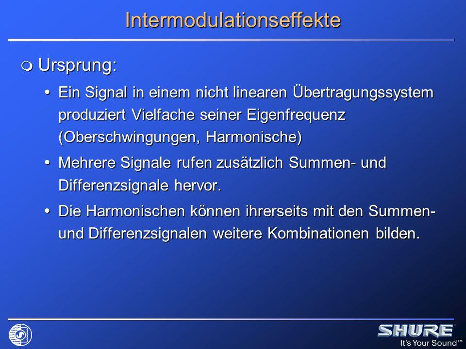 Intermodulationseffekte Ursprung: Ursprung: Ein Signal in einem nicht linearen Übertragungssystem produziert Vielfache seiner Eigenfrequenz (Oberschwi
