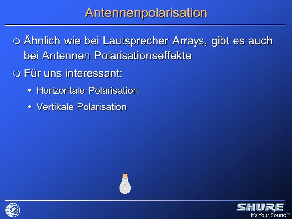 Antennenpolarisation Ähnlich wie bei Lautsprecher Arrays, gibt es auch bei Antennen Polarisationseffekte Ähnlich wie bei Lautsprecher Arrays, gibt es