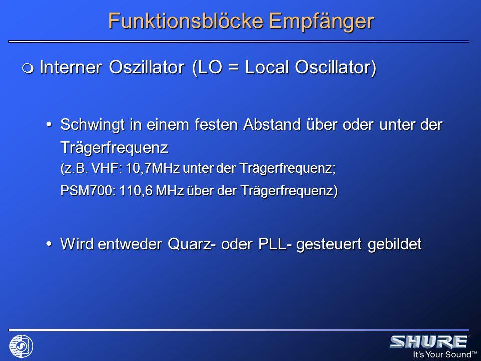 Funktionsblöcke Empfänger Interner Oszillator (LO = Local Oscillator) Interner Oszillator (LO = Local Oscillator) Schwingt in einem festen Abstand übe