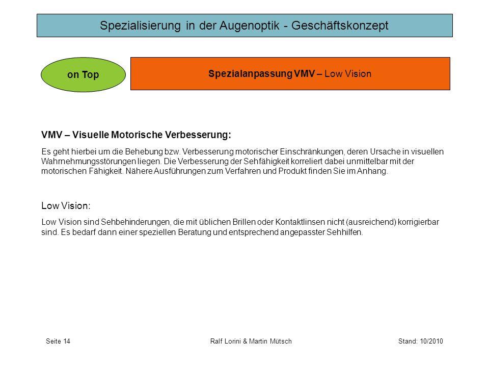 Spezialisierung in der Augenoptik - Geschäftskonzept Spezialanpassung VMV – Low Vision on Top VMV – Visuelle Motorische Verbesserung: Es geht hierbei
