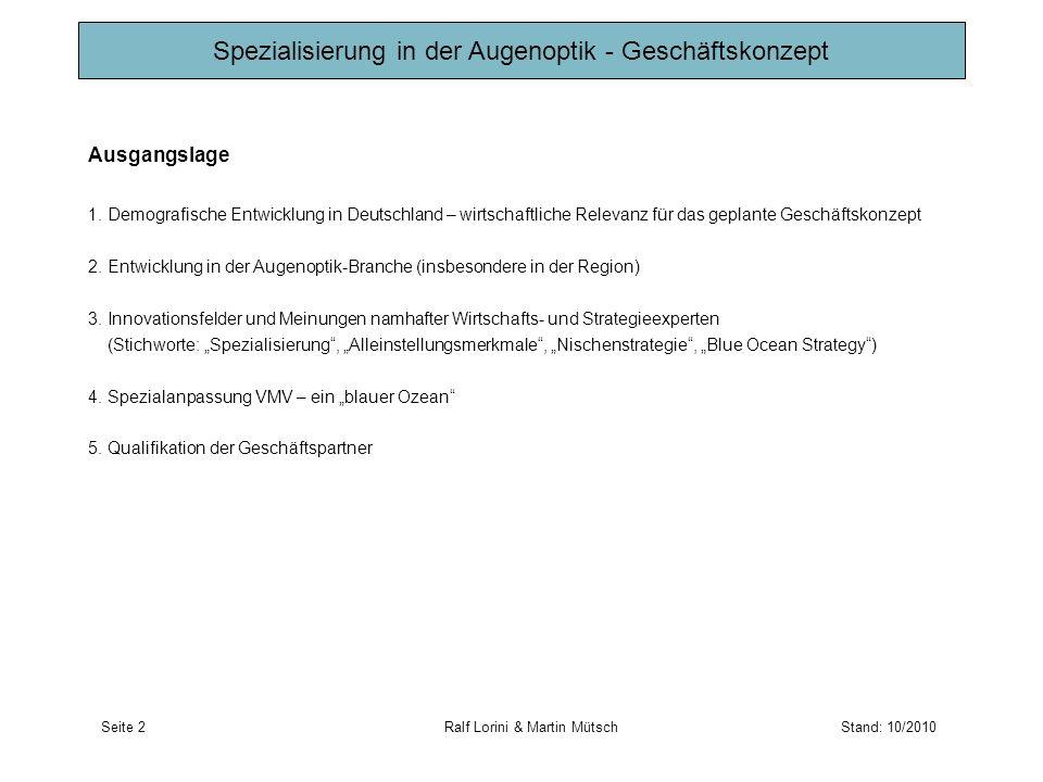 Ausgangslage 1. Demografische Entwicklung in Deutschland – wirtschaftliche Relevanz für das geplante Geschäftskonzept 2. Entwicklung in der Augenoptik