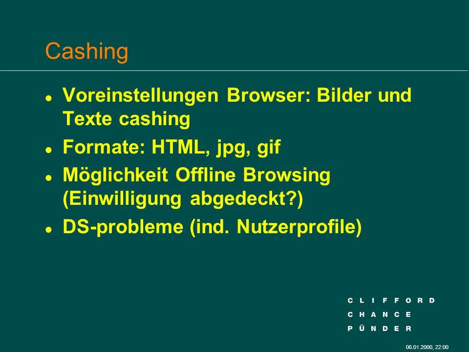 06.01.2000, 22:00 Cashing l Voreinstellungen Browser: Bilder und Texte cashing l Formate: HTML, jpg, gif l Möglichkeit Offline Browsing (Einwilligung abgedeckt?) l DS-probleme (ind.