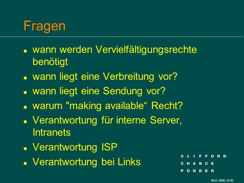 06.01.2000, 22:00 Hyperlinks l Verantwortlichkeit für fremde Inhalte l Zitat? l Schutz?