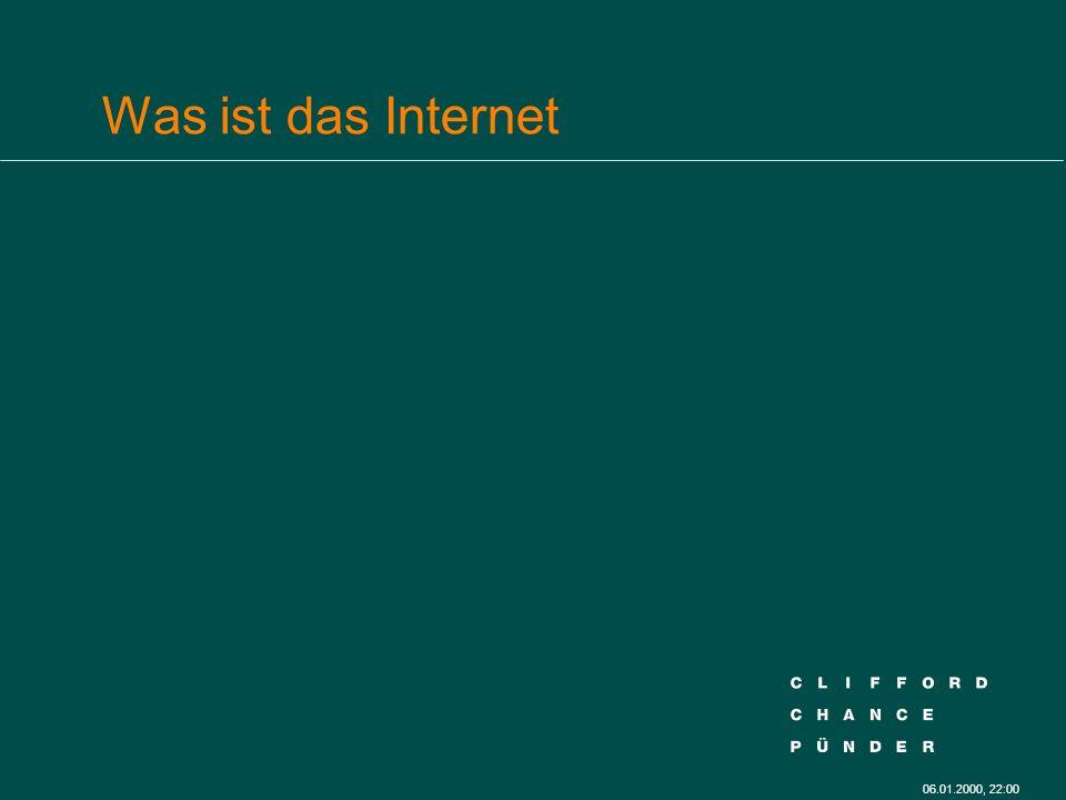 06.01.2000, 22:00 Internet-Browsing (Textseiten/Musik) l Multitasking der Server Programme l Making Available: Programm Start für Nutzer l User: kein ausführbarer Code, sondern Daten l Musikstück: direkt oder datastream, § 87 b UrhG: Datenbank.