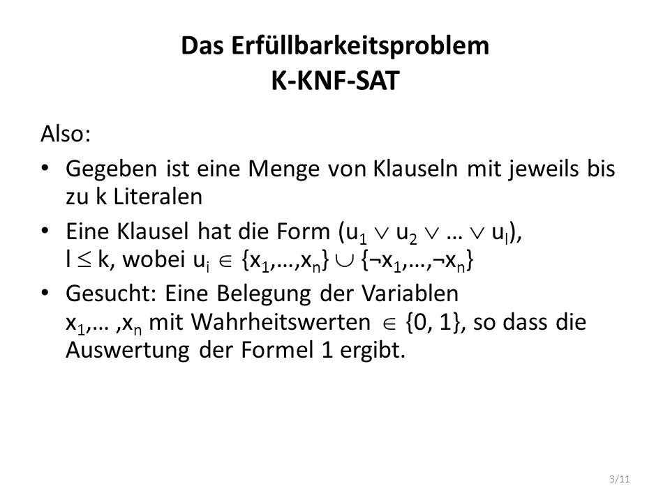 3/11 Das Erfüllbarkeitsproblem K-KNF-SAT Also: Gegeben ist eine Menge von Klauseln mit jeweils bis zu k Literalen Eine Klausel hat die Form (u 1 u 2 …