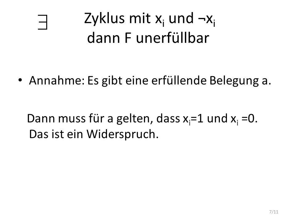 7/11 Zyklus mit x i und ¬x i dann F unerfüllbar Annahme: Es gibt eine erfüllende Belegung a. Dann muss für a gelten, dass x i =1 und x i =0. Das ist e