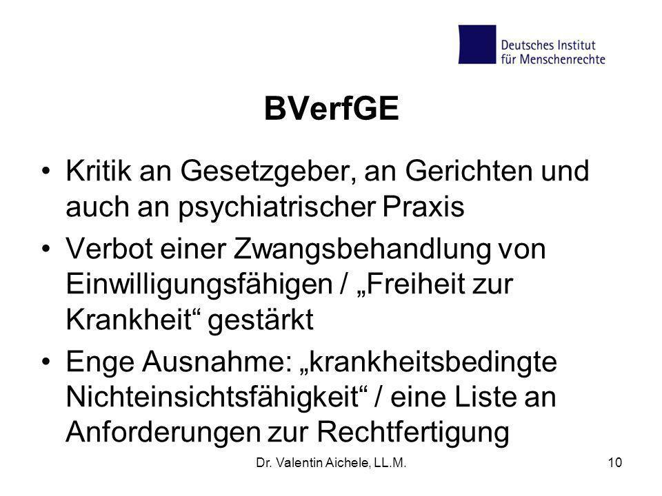 BVerfGE Kritik an Gesetzgeber, an Gerichten und auch an psychiatrischer Praxis Verbot einer Zwangsbehandlung von Einwilligungsfähigen / Freiheit zur K