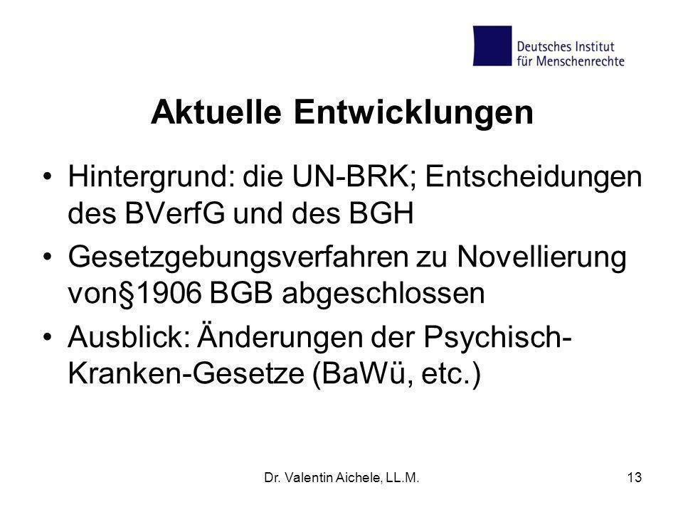 Aktuelle Entwicklungen Hintergrund: die UN-BRK; Entscheidungen des BVerfG und des BGH Gesetzgebungsverfahren zu Novellierung von§1906 BGB abgeschlosse