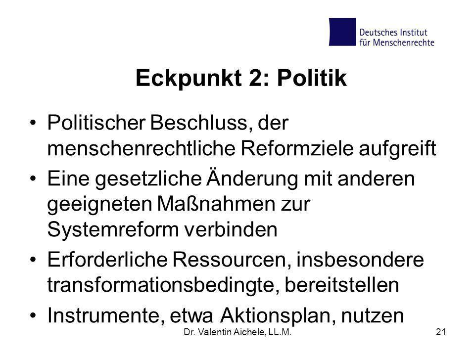 Eckpunkt 2: Politik Politischer Beschluss, der menschenrechtliche Reformziele aufgreift Eine gesetzliche Änderung mit anderen geeigneten Maßnahmen zur
