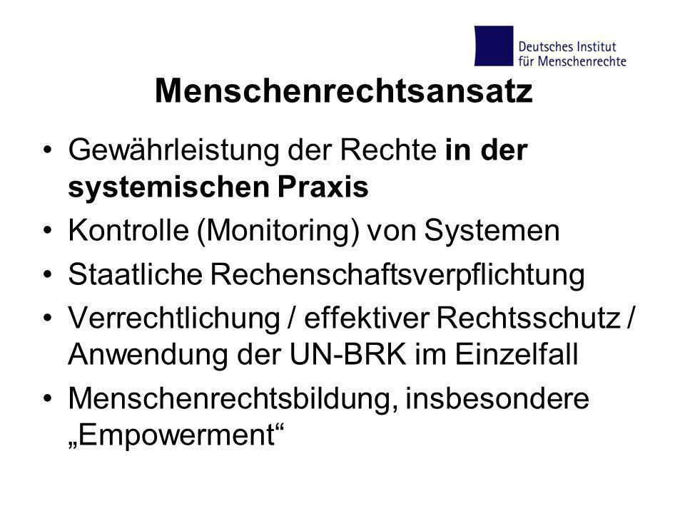 Menschenrechtsansatz Gewährleistung der Rechte in der systemischen Praxis Kontrolle (Monitoring) von Systemen Staatliche Rechenschaftsverpflichtung Ve