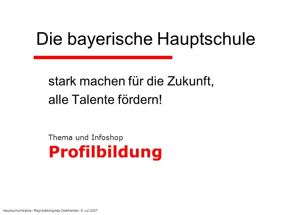 Hauptschulinitiative - Regionalkongress Oberfranken - 6. Juli 2007 Die bayerische Hauptschule stark machen für die Zukunft, alle Talente fördern! Them