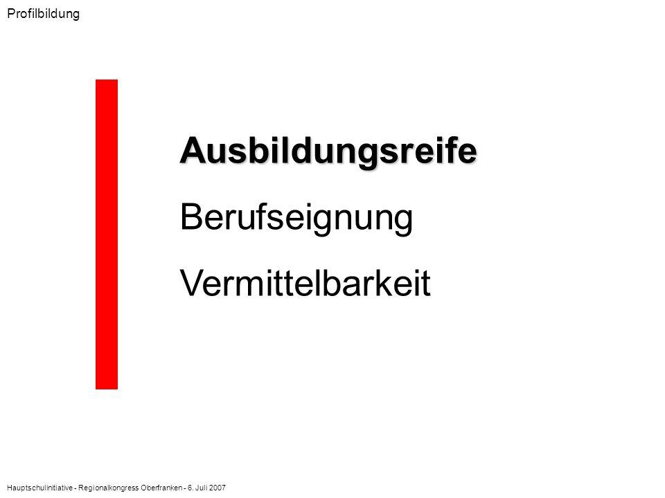 Hauptschulinitiative - Regionalkongress Oberfranken - 6. Juli 2007 Profilbildung Ausbildungsreife Berufseignung Vermittelbarkeit