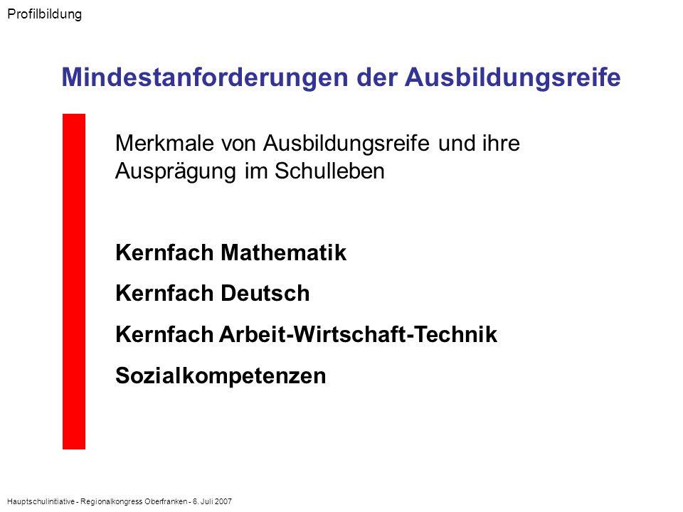 Hauptschulinitiative - Regionalkongress Oberfranken - 6. Juli 2007 Profilbildung Mindestanforderungen der Ausbildungsreife Merkmale von Ausbildungsrei