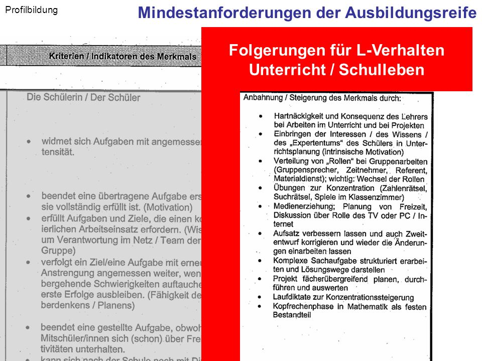 Hauptschulinitiative - Regionalkongress Oberfranken - 6. Juli 2007 Profilbildung Mindestanforderungen der Ausbildungsreife Folgerungen für L-Verhalten