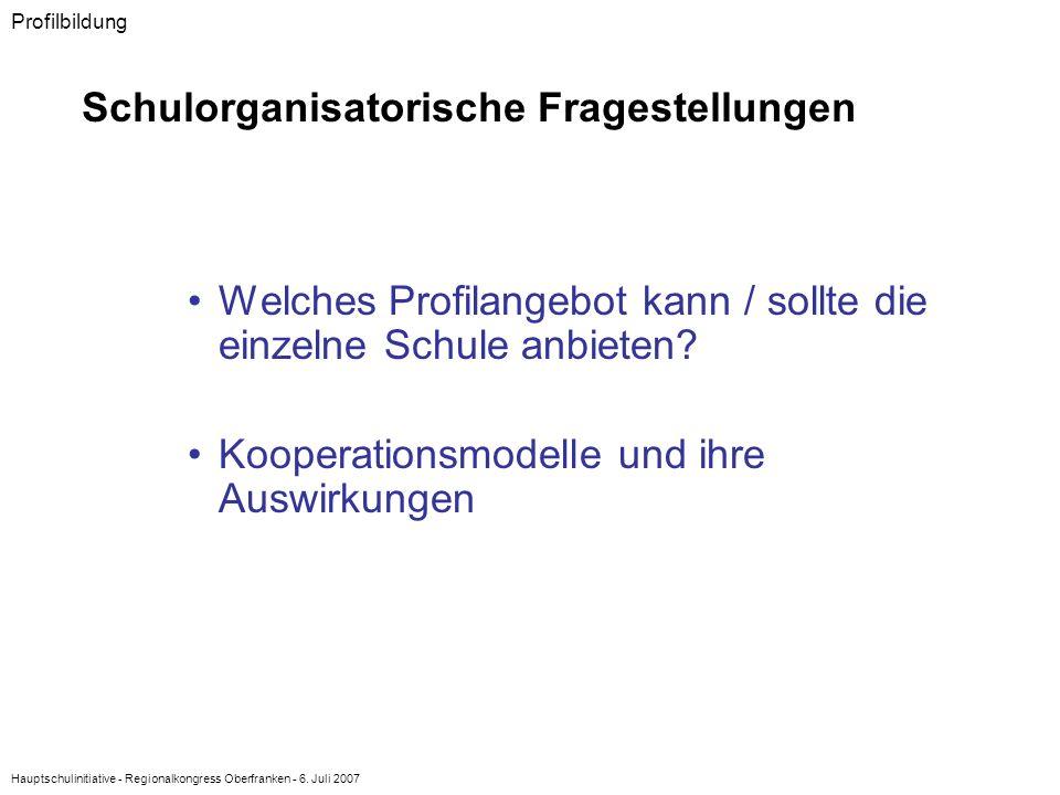 Hauptschulinitiative - Regionalkongress Oberfranken - 6. Juli 2007 Welches Profilangebot kann / sollte die einzelne Schule anbieten? Kooperationsmodel