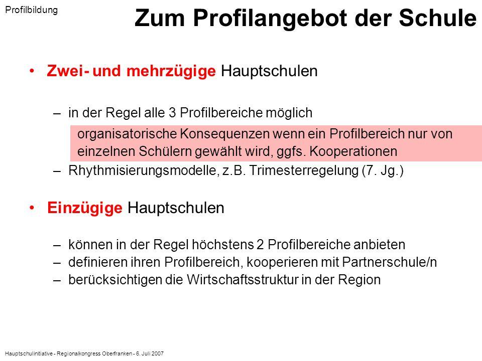 Hauptschulinitiative - Regionalkongress Oberfranken - 6. Juli 2007 Zum Profilangebot der Schule Zwei- und mehrzügige Hauptschulen –in der Regel alle 3