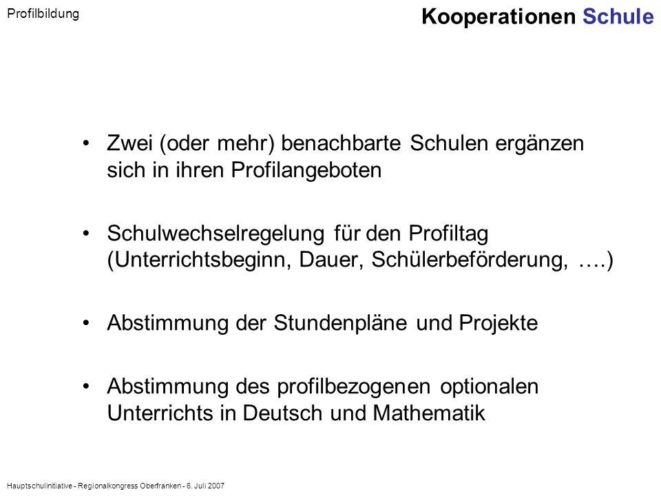 Hauptschulinitiative - Regionalkongress Oberfranken - 6. Juli 2007 Zwei (oder mehr) benachbarte Schulen ergänzen sich in ihren Profilangeboten Schulwe
