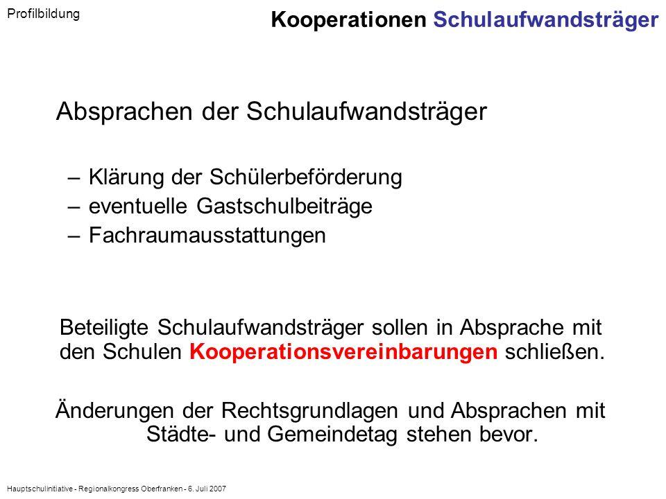 Hauptschulinitiative - Regionalkongress Oberfranken - 6. Juli 2007 Absprachen der Schulaufwandsträger –Klärung der Schülerbeförderung –eventuelle Gast