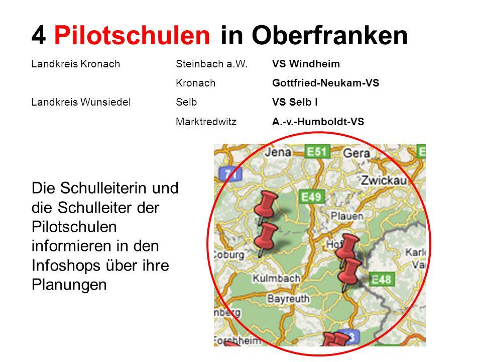 Hauptschulinitiative - Regionalkongress Oberfranken - 6. Juli 2007 4 Pilotschulen in Oberfranken Landkreis KronachSteinbach a.W.VS Windheim KronachGot