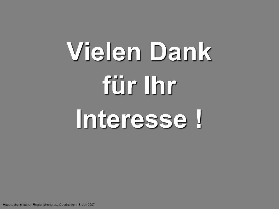 Hauptschulinitiative - Regionalkongress Oberfranken - 6. Juli 2007 Vielen Dank für Ihr Interesse !