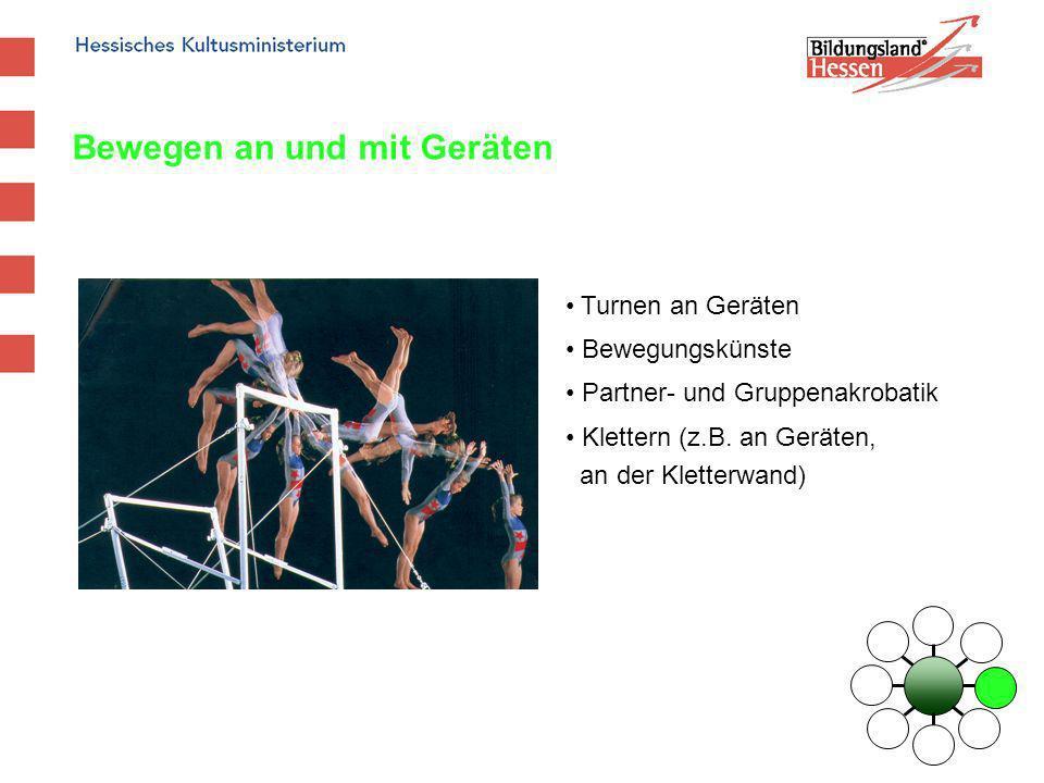 Bewegen an und mit Geräten Turnen an Geräten Bewegungskünste Partner- und Gruppenakrobatik Klettern (z.B. an Geräten, an der Kletterwand)