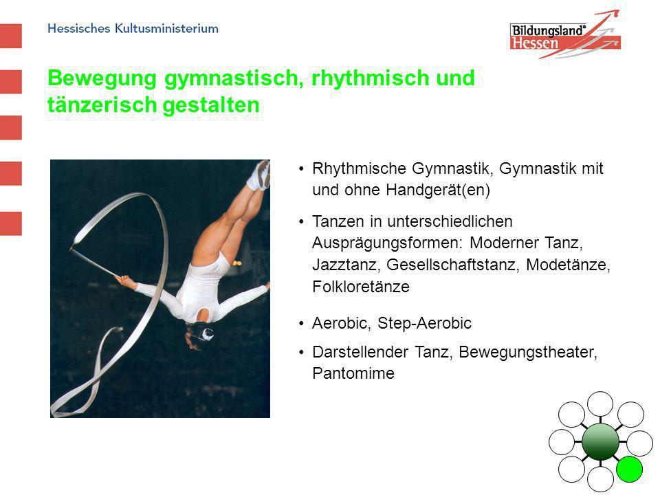 Bewegung gymnastisch, rhythmisch und tänzerisch gestalten Rhythmische Gymnastik, Gymnastik mit und ohne Handgerät(en) Tanzen in unterschiedlichen Ausp