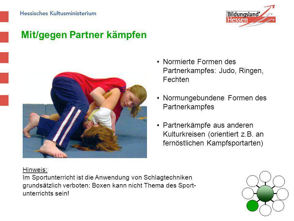 Mit/gegen Partner kämpfen Normierte Formen des Partnerkampfes: Judo, Ringen, Fechten Normungebundene Formen des Partnerkampfes Partnerkämpfe aus ander