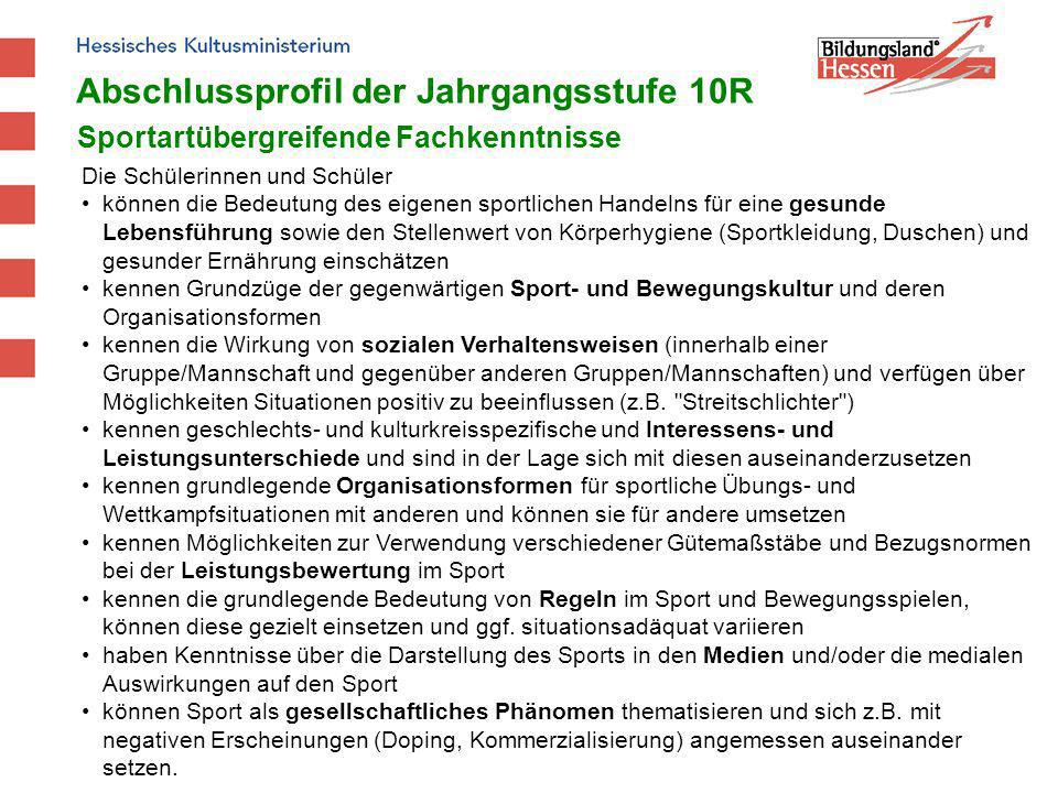 Abschlussprofil der Jahrgangsstufe 10R Sportartübergreifende Fachkenntnisse Die Schülerinnen und Schüler können die Bedeutung des eigenen sportlichen