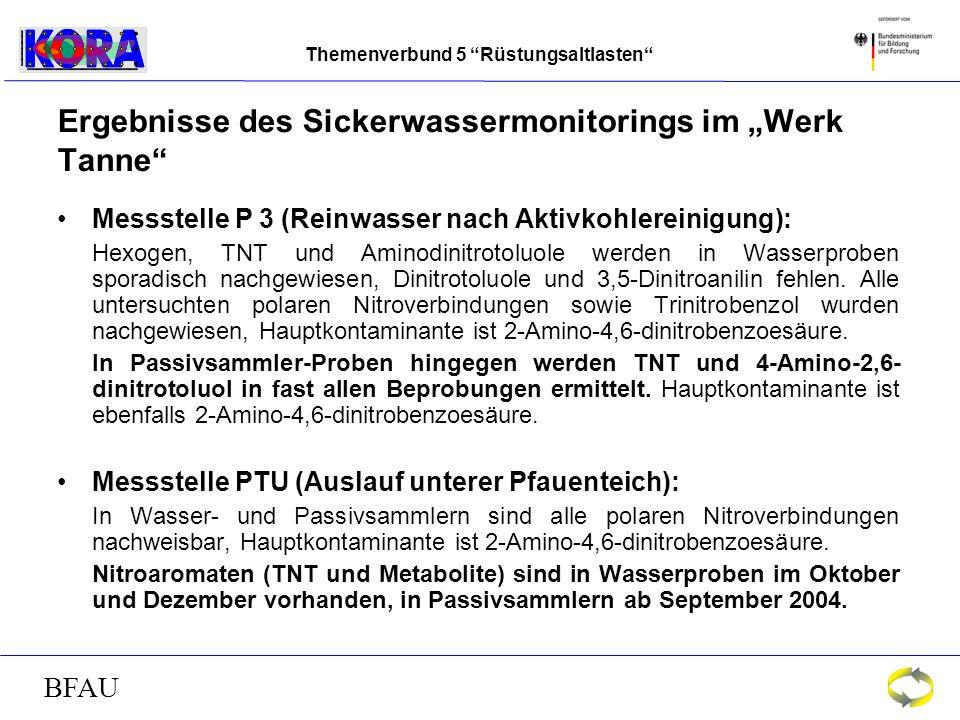 Themenverbund 5 Rüstungsaltlasten BFAU Ergebnisse des Sickerwassermonitorings im Werk Tanne Messstelle P 3 (Reinwasser nach Aktivkohlereinigung): Hexogen, TNT und Aminodinitrotoluole werden in Wasserproben sporadisch nachgewiesen, Dinitrotoluole und 3,5-Dinitroanilin fehlen.