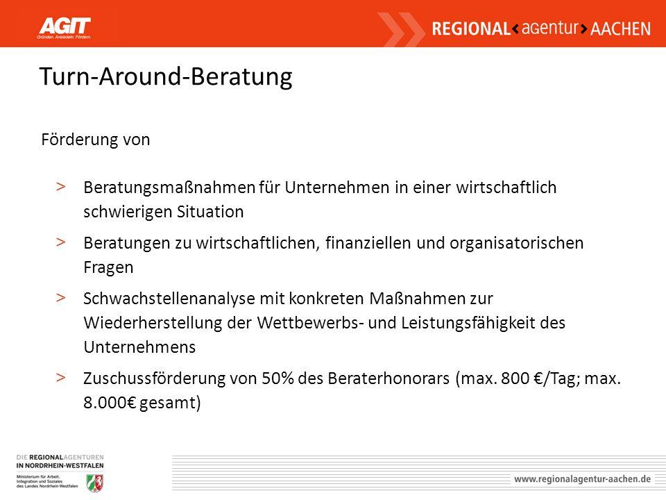 Turn-Around-Beratung Förderung von > Beratungsmaßnahmen für Unternehmen in einer wirtschaftlich schwierigen Situation > Beratungen zu wirtschaftlichen