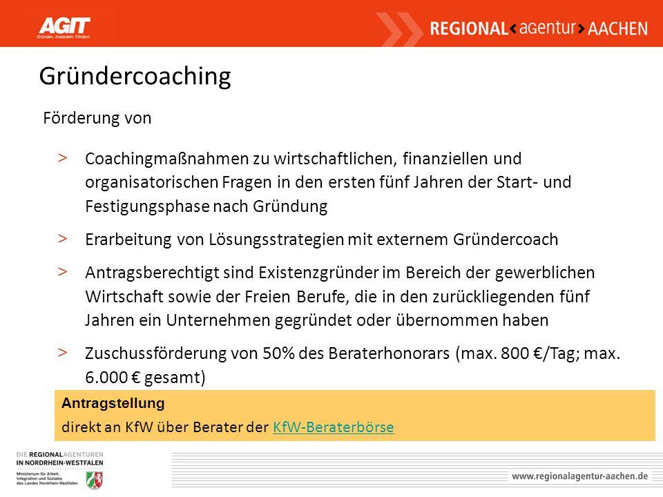 Gründercoaching Förderung von > Coachingmaßnahmen zu wirtschaftlichen, finanziellen und organisatorischen Fragen in den ersten fünf Jahren der Start-