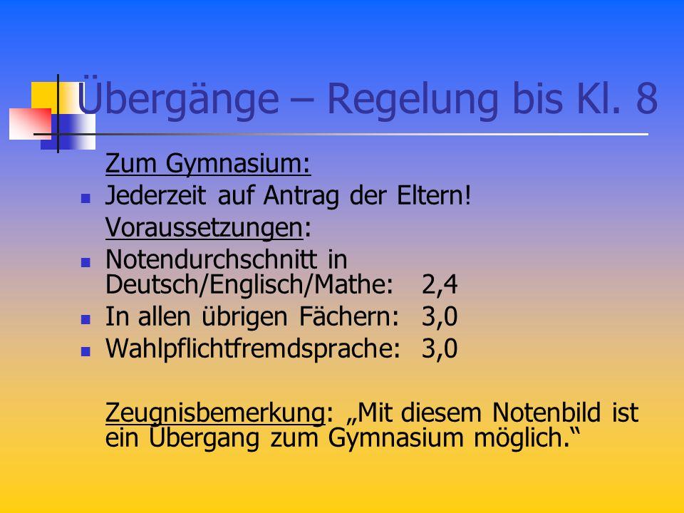 Übergänge – Regelung bis Kl. 8 Zum Gymnasium: Jederzeit auf Antrag der Eltern! Voraussetzungen: Notendurchschnitt in Deutsch/Englisch/Mathe: 2,4 In al